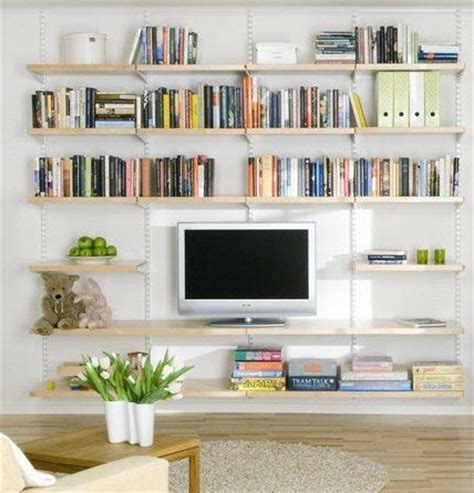Wall Shelving Ideas For Living Room by Living Room Shelving Ideas Hanging Birch Wooden Shelves
