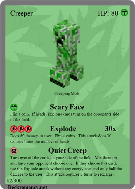 minecraft tcg 002 creeper by acaroa on deviantart - How Much Is A Minecraft Gift Card