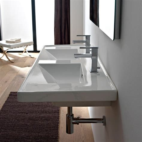 double porcelain bathroom sink beautiful rectangular double ceramic sink modern