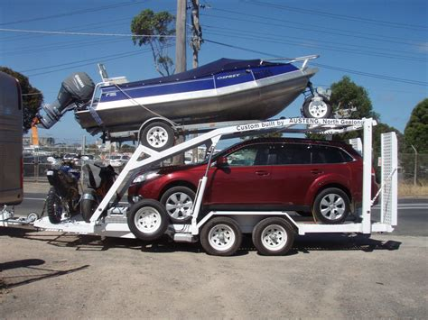 tow boat and trailer custom built trailer to tow car boat and two motorbikes