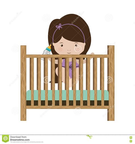Bottle In Crib by Baby Bed Illustrations Vector Stock Images