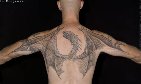 dragon back tattoos grey ink on back