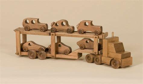 Handmade Wooden Cars - car carrier wood tractor trailer truck w 6 wooden race
