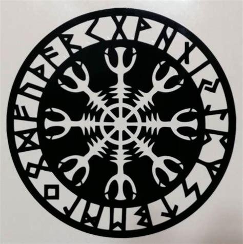 Blue Wall Stickers helm of awe viking celtic rune aegishjalmur runic die