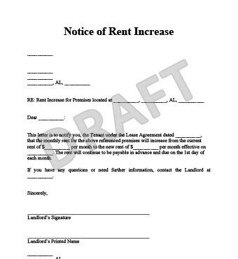 Rent Increase Letter Uk rent increase letter format letter format 2017