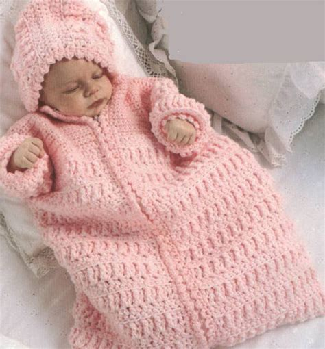 free crochet pattern baby bag lovely baby hooded sleeping bag crochet pattern only