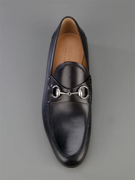 black gucci loafers lyst gucci horsebit loafer in black for
