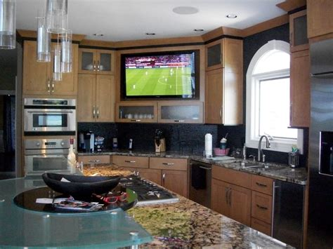 kitchen television ideas large built in tv in kitchen yelp