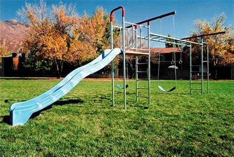 metal swing set with monkey bars treasure valley playground equipment and supply