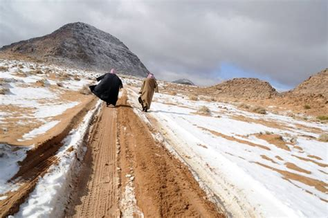 snow in desert snowfall in saudi arabia desert