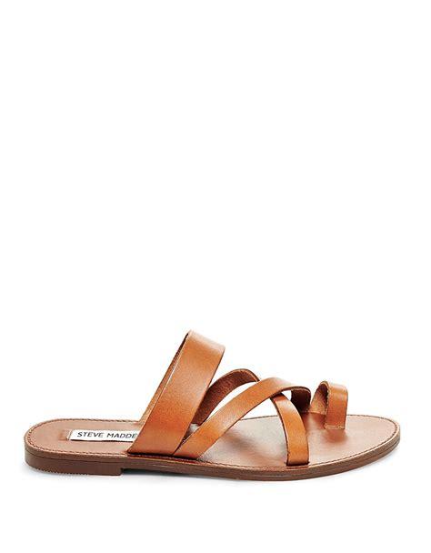 brown slide sandals steve madden ambler leather flat slide sandals in brown lyst