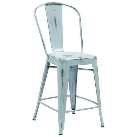tolix style distressed indoor outdoor counter stool with