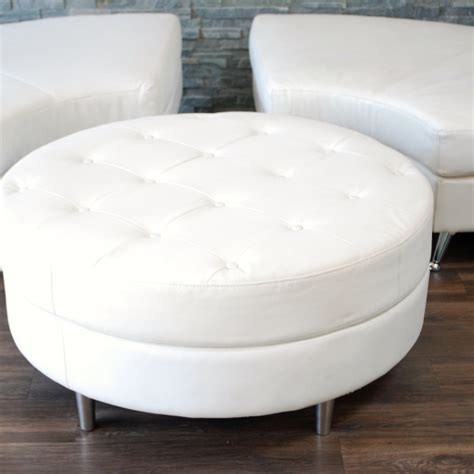 White Tufted Ottoman White Leather Tufted Ottoman Platinum Event Rentals