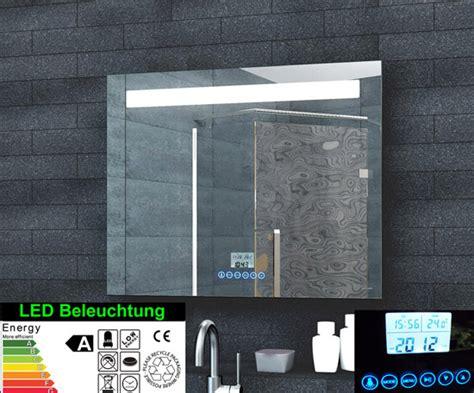 spiegelschrank uhr www aqua de lichtspiegel led uhr radio mp3 touch
