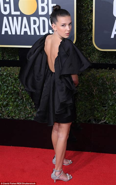 Bobby Dress millie bobby brown dons black minidress at golden globes