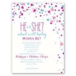 pretty confetti gender reveal invitation invitations by