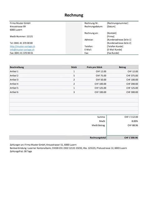 Rechnungsvorlage Muster Vorlage rechnungsvorlage schweiz f 252 r word excel kostenlos