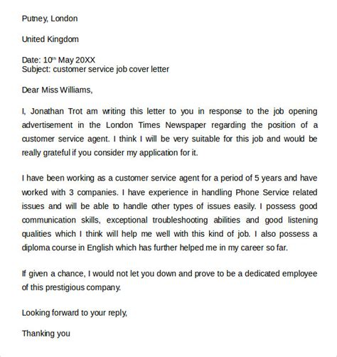 cover letter for a customer service sle customer service cover letter exle 7