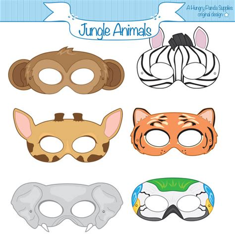 printable animal eye mask template jungle animals printable masks monkey mask zebra tiger
