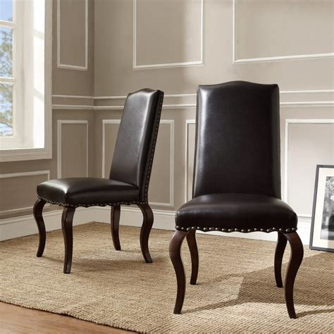 Homelegance Calhan Traditional Bonded Leather Parson Chair Leather Nailhead Dining Chairs