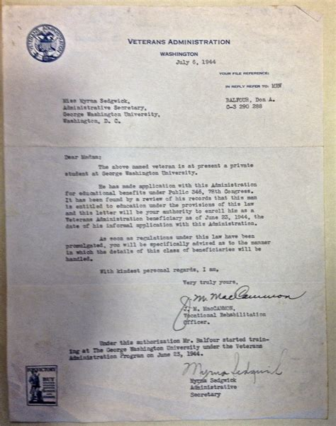 Montgomery College Acceptance Letter File Veterans Administration Letter For Don A Balfour July 6 1944 Gi Bill Student At George