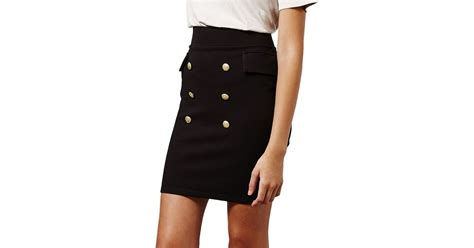 miss selfridge breasted button front pencil skirt