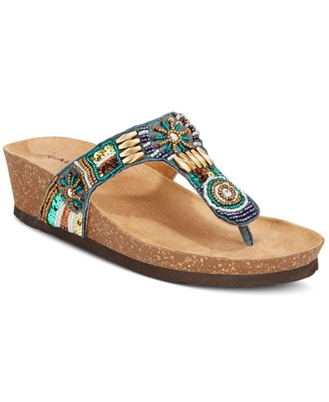 Rialto Beaded Wedge Sandals In Blue Lyst