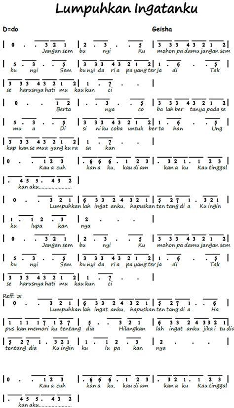 not angka asal kau bahagia gudang lagu not angka pianika lagu lumpuhkan ingatanku geisha