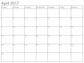 April Calendar Template by April 2017 Calendar Weekly Calendar Template