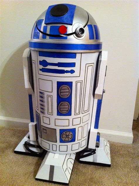spray painter labourer r2d2 trash can made from a plastic trash can orthotic