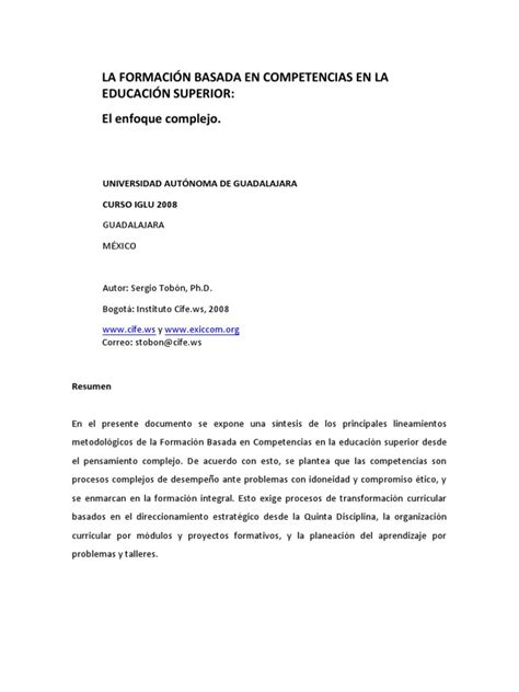 Diseño Curricular Por Competencias Sergio Tobon Formaci 243 N Basada En Competencias Sergio Tob 243 N