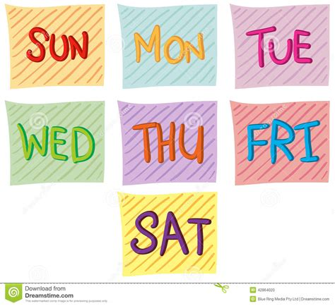 seven days week seven days of the week stock vector image 42864020