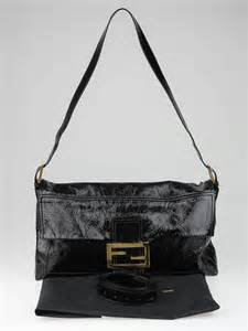 Fendi Haircalf Convertible To You Bag by Fendi Black Patent Leather Large Convertible Baguette Bag
