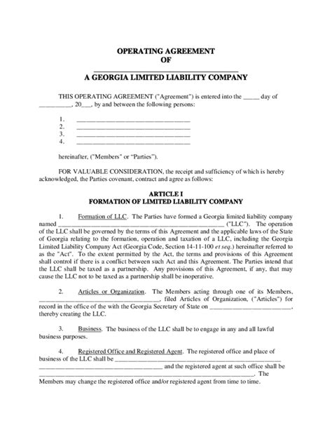llc agreement template sle llc operating agreement free