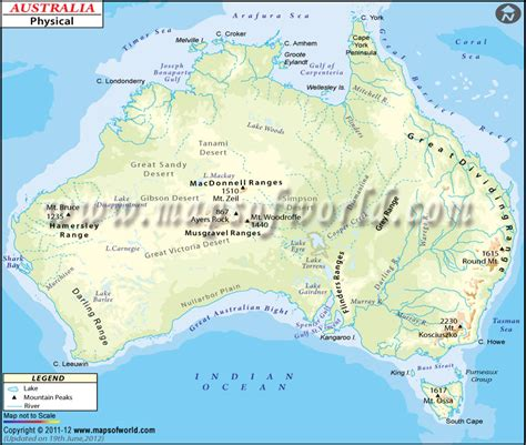geographical map australia australia smallest continent