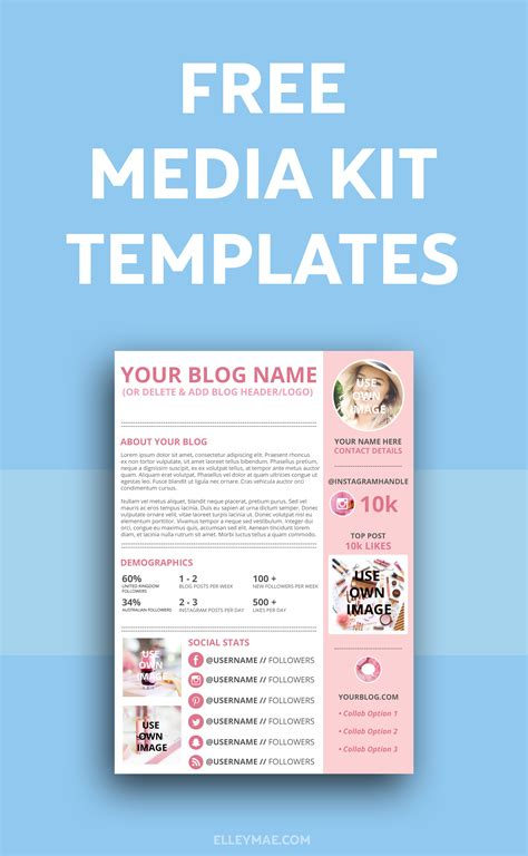 free media kit template how to create a kick media kit elley mae
