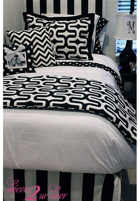 white dorm bedding trendy black white geometric designer teen dorm bed in a bag teen girl dorm room