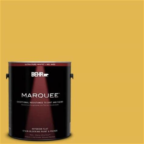 behr marquee 1 gal 360d 6 yellow gold flat exterior paint 445301 the home depot