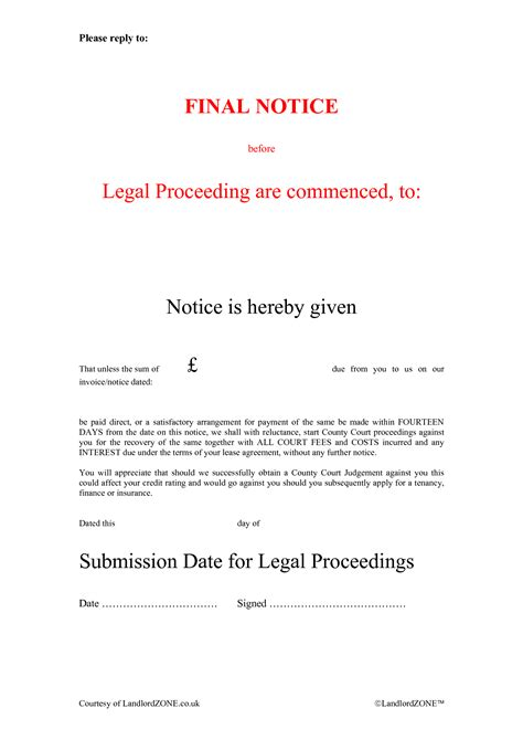 debt recovery letter before action template notice of