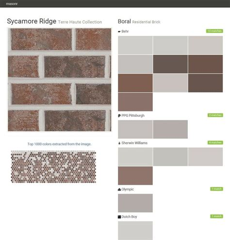 what does paint to match sycamore ridge terre haute collection residential brick boral behr ppg paints sherwin