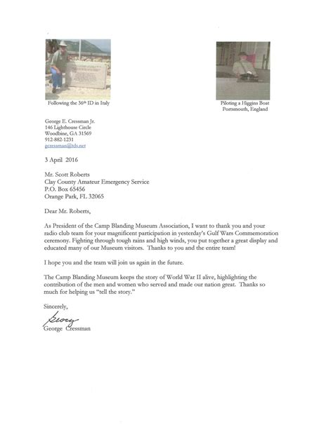 Thank You Letter For Radio Thank You Letter From C Blanding Clay County Radio Emergency Service Ares