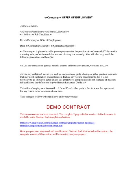 Offer Letter For Employment employment offer letter free printable documents