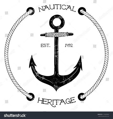 Classic Vintage Style Anchor vintage nautical badge anchor stock vector 176383844