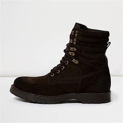 brown suede combat boots shoes boots sale