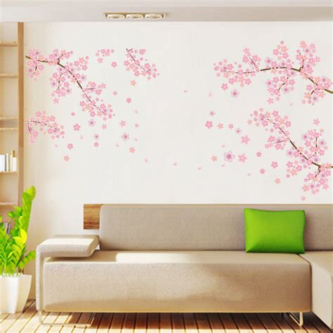 wall stickers fiori pink flowers removable vinyl decal wall sticker mural diy