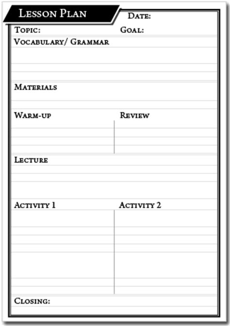 lesson plan esl template printable lesson plan template genie