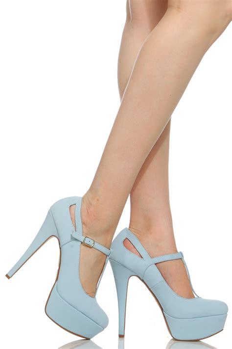light blue womens dress shoes light blue faux leather t platform heels
