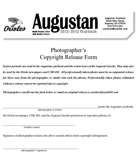 photographer copyright release form template 7 sle photography copyright release forms sle