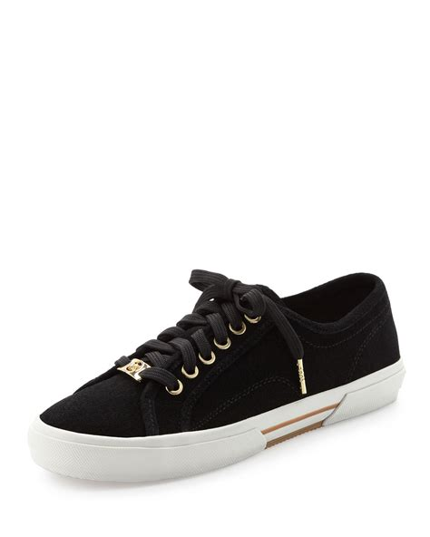black michael kors sneakers michael kors boerum suede sneaker in black lyst