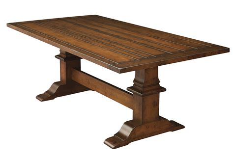 Wood Plank Dining Table Amish Rustic Trestle Dining Table Plank Farmhouse Cabin Wood Furniture Country Ebay